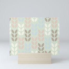 Scandinavian leaves on a light green background design for home ornament. Mini Art Print
