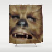 chewbacca Shower Curtains featuring Pixel Chewbacca by Tee Brain Creative