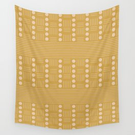 Lines and Circle in Mustard Wall Tapestry