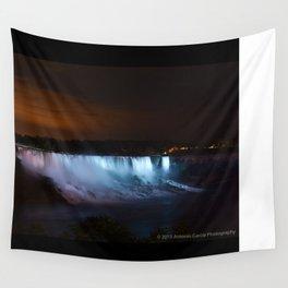 Niagara Falls at Night Wall Tapestry
