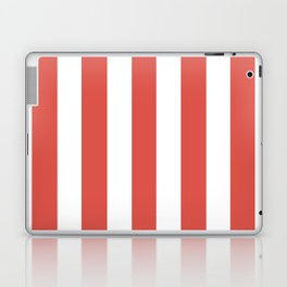 Lychee red - solid color - white vertical lines pattern Laptop & iPad Skin