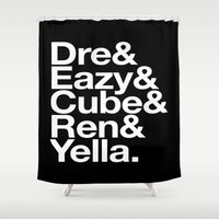 helvetica Shower Curtains featuring Straight Outta Helvetica by Mike D.