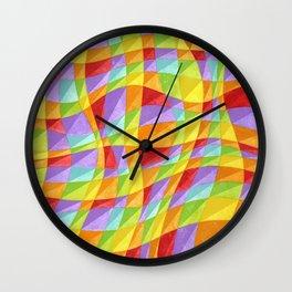 Groovy Rainbow Plaid Wall Clock