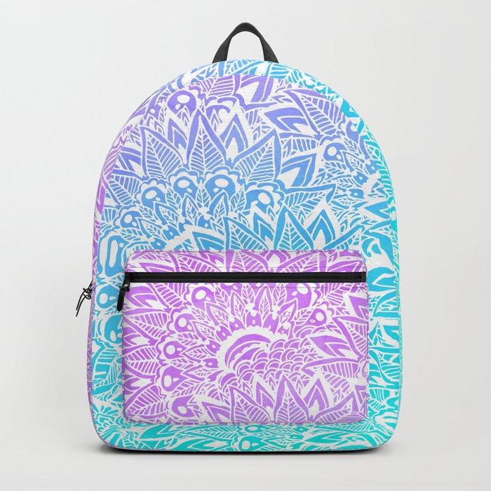 White mandala henna pattern illustration Mermaid purple turquoise watercolor floral pattern Backpack