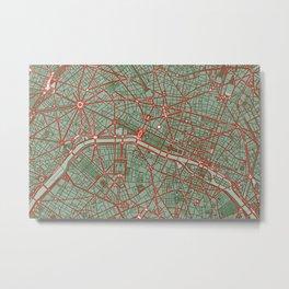 Paris city map pop Metal Print