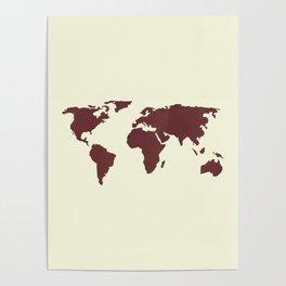 World Map -  Crimson Red on Cream Linen Poster