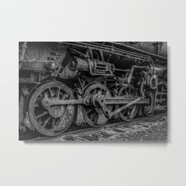 Drive Wheels of a Vintage Steam Locomotive Train in Black and White Metal Print