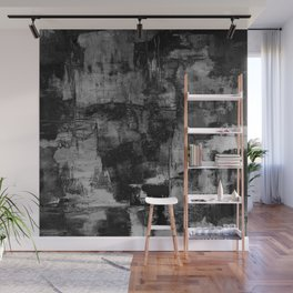 Crackled Gray - Black, white and gray, grey textured abstract Wall Mural