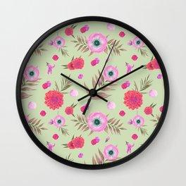 Modern pink lavender watercolor geometric floral Wall Clock