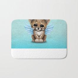 Cute Baby Cheetah Cub with Fairy Wings on Blue Bath Mat