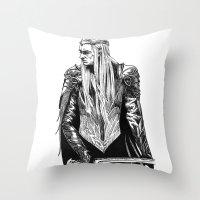 thranduil Throw Pillows featuring Thranduil by Lydia Joy Palmer
