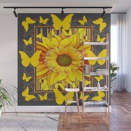 YELLOW BUTTERFLIES SUNFLOWER  CHARCOAL GREY Wall Mural