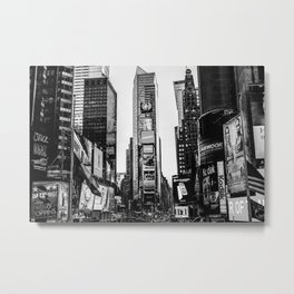 Time Square in black and white. Metal Print