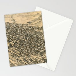 Vintage Pictorial Map of Stockton California (1895) Stationery Cards