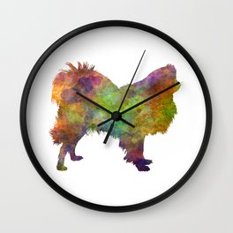 Japanese Chin in watercolor Wall Clock