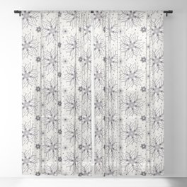 Hand drawn abstract winter snowflakes pattern. Sheer Curtain