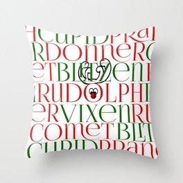 9 Reindeer Throw Pillow