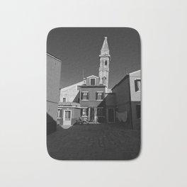 Burano cityscape, black and white photo Bath Mat