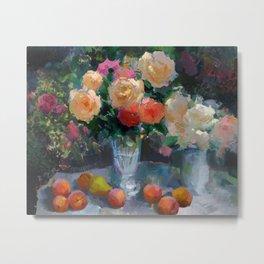 Roses & Fruits Metal Print