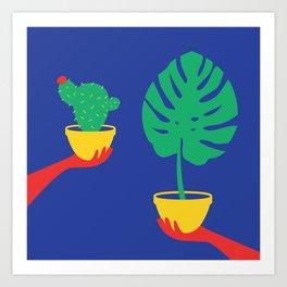 Plants Colour Block Art Print