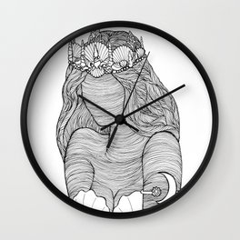 Mermaid Royalty Drawing Wall Clock