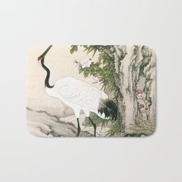 Crane and Chinese Roses Bath Mat