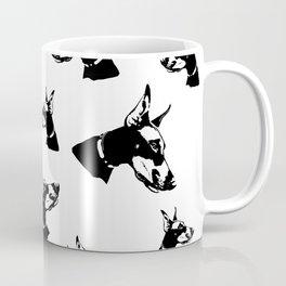 Doberman Pincher Dog Black White Coffee Mug