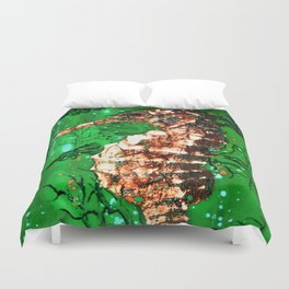 Sea Horse of the Emerald Sea Duvet Cover