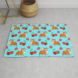 Cute happy playful funny puppy corgi dogs, red sweet summer strawberries and cherries pastel baby blue fruity pattern design. Rug