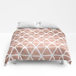 Geometric faux rose gold foil triangles pattern Comforters