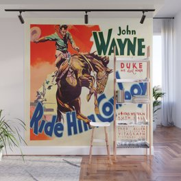 John Wayne Ride Em Cowboy Vintage Movie Poster Print Wall Mural