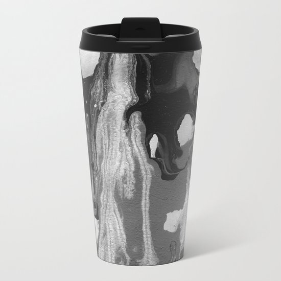 Black And White Marble Drips Metal Travel Mug