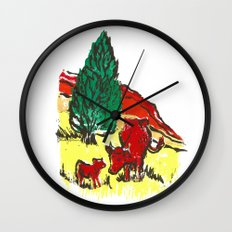 Big moo, wee moo (colored version) Wall Clock