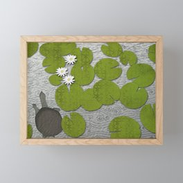 Water lilies with Florida Soft-shell Turtle Framed Mini Art Print