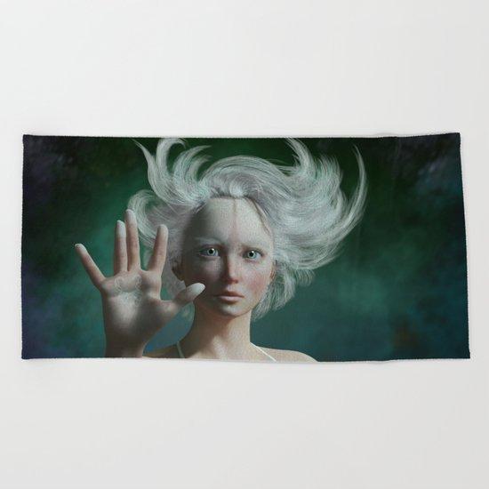 White Faun Beach Towel