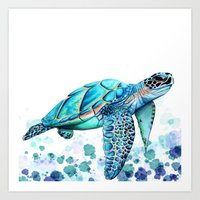 sea turtle Art Prints featuring Turtle by Ismay Verbeek