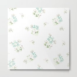 Vintage Bloom White Metal Print