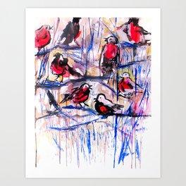 Christmas Robins Art Print