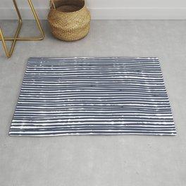 Abstract Stripes Pattern, Indigo, Navy Blue Rug