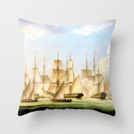 Mahratta Pirates Attacking The Sloop Aurora, Of The Bombay Marine - Thomas Buttersworth Throw Pillow