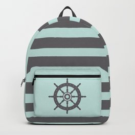 AFE Pale Turquoise and Brown Helm Wheel Backpack