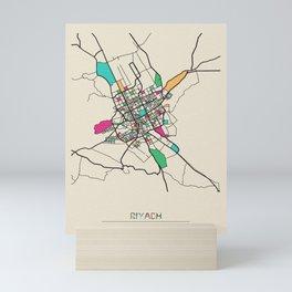 Colorful City Maps: Riyadh, Saudi Arabia Mini Art Print
