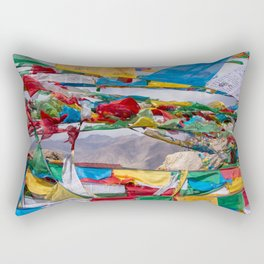Tibetan landscape with prayer flags in foreground Rectangular Pillow