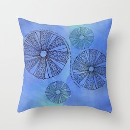 Blue Sea Urchin Throw Pillow