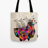 kris tate Tote Bags featuring The Night Playground by Peter Striffolino and Kris Tate by Peter Striffolino