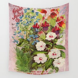 Vintage Flowers Advertisement Collage Wall Tapestry