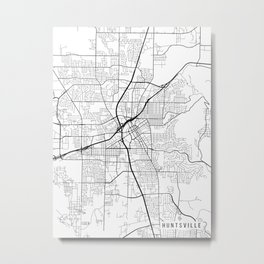 Huntsville Map, Alabama USA - Black & White Portrait Metal Print
