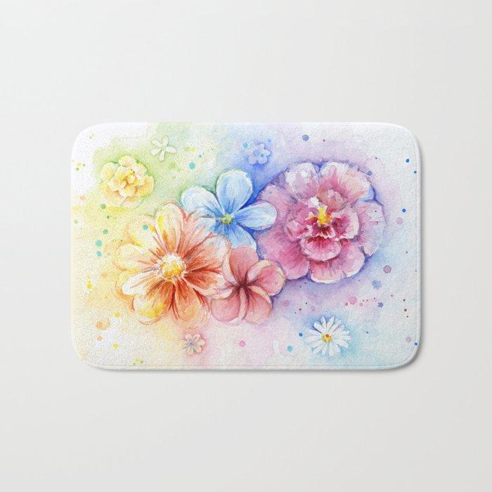 Flowers Rainbow Watercolor Bath Mat