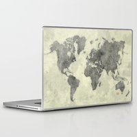 vintage map Laptop & iPad Skins featuring World Map Black Vintage by City Art Posters