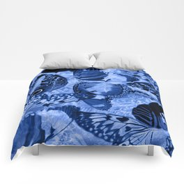 Blue Exotic Butterfly Wings and Scroll Collage Comforters